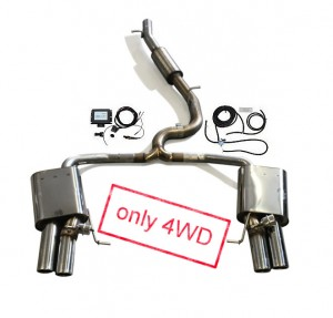 JE DESIGN flap exhaust syst. Seat Leon 5F Cupra ST  with EG-proofed,4 x 80 mm, for OE rear valance